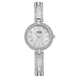 【送料無料】腕時計 シルバートーンクリスタルアクセントウォッチbadgley mischka ba1395mpsv womens 28mm silver tone crystal accent watch