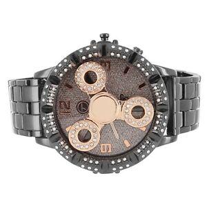 【送料無料】腕時計 メンズブラックトーンローズゴールドスピナアクセントケース