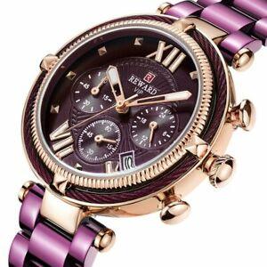 【送料無料】腕時計 トップブランドファッションカジュアルクォーツクロノグラフreward top brand women watches waterproof fashion casual quartz chronograph