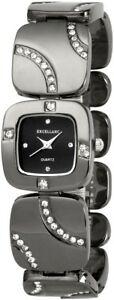【送料無料】腕時計 レディースブラックチタンメタルラインストーンアナログクォーツexcellanc damenuhr schwarz titanlook strass analog metall quarz x152571000018