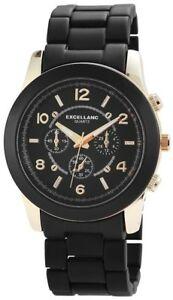 【送料無料】腕時計 レディースブラックゴールドクロノクォーツアナログメタル×excellanc damenuhr schwarz gold chronolook analog metall quarz x150801000010