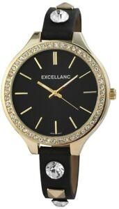 【送料無料】腕時計 レディースブラックローズゴールドラインストーンアナログクォーツレザー×excellanc damenuhr schwarz rosgold strass analog quarz leder x199101000001