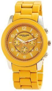【送料無料】腕時計 ウォッチイエローゴールドクロノクォーツアナログメタル×excellanc damenuhr xxl gelb gold chronolook analog metall quarz x150804000010
