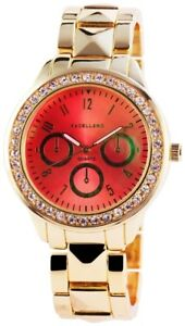 【送料無料】腕時計 オレンジローズゴールドラインストーンクロノアナログexcellanc damenuhr orange rosgold strass chronolook analog x150705800004