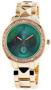 【送料無料】腕時計 ウォッチターコイズゴールドラインストーンクロノアナログexcellanc damenuhr trkis rosgold strass chronolook analog x150706000004