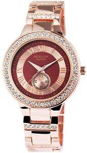 【送料無料】腕時計 レディースブラウンローズゴールドラインストーンクロノアナログexcellanc damenuhr rotbraun rosgold strass chronolook analog x1800043007