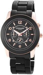 【送料無料】腕時計 レディースブラックローズゴールドクロノアナログメタル×excellanc xxl damenuhr schwarz rosgold chronolook analog metall x150841000010