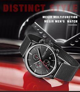 【送料無料】腕時計 ファッションブランドクロノグラフスポーツウォッチfashion luxury brand megir watches men chronograph sport watch