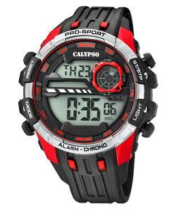【送料無料】腕時計 カリプソデジタルクロノグラフメンズブラックウォッチレッドクロノcalypso digitalchronograph herrenuhr schwarzrot chrono k57294