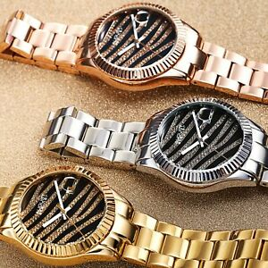 【送料無料】腕時計 シュタイナーゼブリスタルステンレススチールウォッチwomens august steiner as8276 zebra grooved crystal date stainless steel watch
