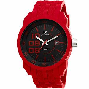 【送料無料】腕時計 ジョシュアスポーツシリコンストラップウォッチ mens joshua amp; sons js63rd sport quartz date red silicone strap watch
