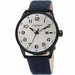 【送料無料】腕時計 メンズクォーツレザーストラップホワイトネイビーmens akribos xxiv ak1029bu quartz date seude white navy leather strap watch