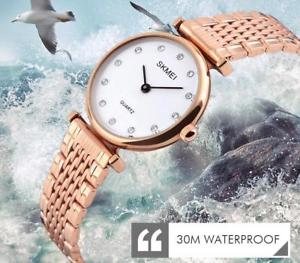 【送料無料】腕時計 クォーツレディースファッションローズゴールドシルバーquartz watches ladies waterproof wristwatch fashion rose gold silver rhinestones