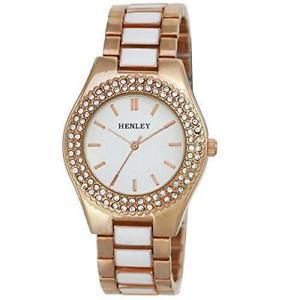 【送料無料】腕時計 レディースファッションローズゴールドクリスタルブレスレットボックスhenley h07227 womens fashion rose gold crystal bracelet watch free gift box