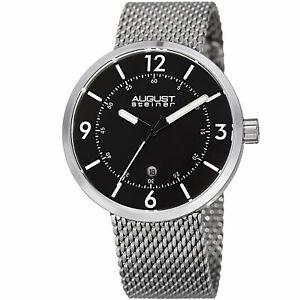 【送料無料】腕時計 シュタイナークォーツムーブメントスチールメッシュブレスレットmens august steiner as8204ssb quartz movement date steel mesh bracelet watch