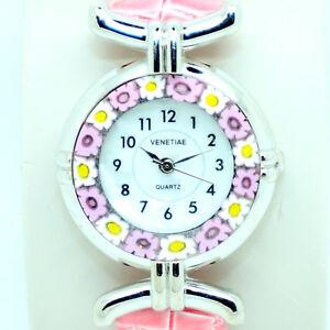 【送料無料】腕時計 ベニスムラノガラスピンクストラップクォーツmurano glass quartz watch from venice millefiori and pink strap