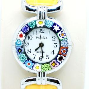 【送料無料】腕時計 ベニスムラノガラスイエローストラップクォーツmurano glass quartz watch from venice with millefiori and yellow strap