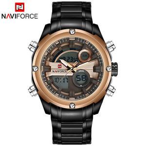【送料無料】腕時計 フォースメンズステンレススチールスポーツデュアルデジタルアナログnaviforce mens stainless steel sports dual display watch digital analog watch