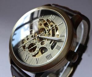 【送料無料】腕時計 スケルトンビンテージスタイリングレザーウォッチアンプスタッドボルト43mm bronze automatic skeleton vintage styling watch leather amp; brass studs