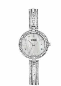 【送料無料】腕時計 シルバートーンクリスタルアクセントウォッチnwt badgley mischka ba1395mpsv womens 28mm silver tone crystal accent watch