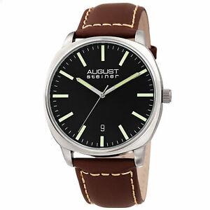 【送料無料】腕時計 シュタイナーメンズブラックレザーストラップウォッチシルバーストーンブラウン