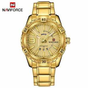 【送料無料】腕時計 クォーツスポーツゴールドフルウォッチスチールquartz watch luxury men sport watch gold full steel men date waterproof military