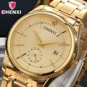 【送料無料】腕時計 ゴールドビジネスユニークウォッチchenxi gold watch men luxury business man watch golden waterproof unique fash