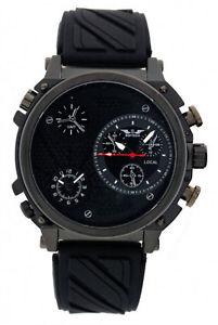 【送料無料】腕時計 タイムゾーンメンズブラックシリコンストラップメタルアナログクォーツ