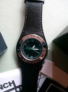 【送料無料】腕時計 ベンチファッションクォーツブラックレザーウォッチ