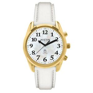 【送料無料】腕時計 ストラップウォッチacctim women easy to see, highview radio controlled white leather strap watch
