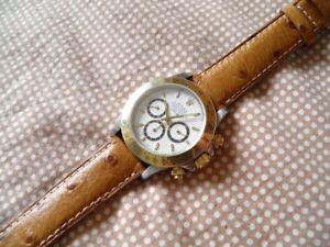 【送料無料】腕時計 ブレスレットマロンブランシュ18 mm bracelet veau veritable facon autruche marron miel couture blanche