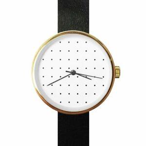 【送料無料】腕時計 シンプルデザインゴールドブラックストラップ
