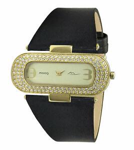 【送料無料】腕時計 パリエレメントスワロフスキーブレスレットノワールmoog paris montre femme avec cadran dor, elments swarovski, bracelet noir