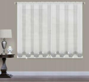 【送料無料】腕時計 テープボーダーホワイトボイルスロットネットカーテンパネルsilver shimmering glitter tape border white voile slot top net curtain panel