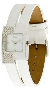 【送料無料】腕時計 パリブランブランブレスレットスワロフスキーエレメントmoog paris montre femme avec cadran blanc, elments swarovski, bracelet blanc