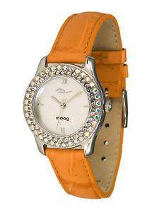 【送料無料】腕時計 パリオレンジブレスレットスワロフスキーエレメントmoog paris montre femme avec cadran argent, elments swarovski, bracelet orange