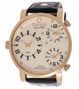【送料無料】腕時計 メンズブラックレザーストラップトリプルアナログクォーツ