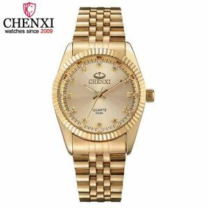 【送料無料】腕時計 ゴールドステンレススチールクオーツゴールデンウォッチchenxi men gold watch stainless steel quartz golden mens wristwatches for m