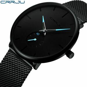 【送料無料】腕時計 ファッションウォッチメッシュストラップスリムシンプルcrrju fashion watch men waterproof slim mesh strap minimalist wrist watches f