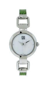 【送料無料】腕時計 スイスパールラウンドスチールグリーンアナログesq swiss es408 womens round analog mother of pearl green leather steel watch