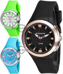 【送料無料】腕時計 ケースシリコンストラップアナログanalog xonix wristwatch for women, big case, silicone strap, waterproof