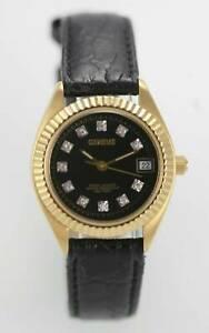 【送料無料】腕時計 ジュネーブステンレススチールゴールドブラックレザークォーツ