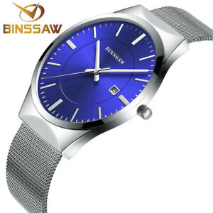 【送料無料】腕時計 トップブランドシルバークォーツbinssaw top luxury brand men watch waterproof ultrathin silver quartz men male