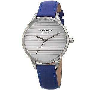 【送料無料】腕時計 シルバースリムウォッチwomenss akribos xxiv ak1005bu quartz striated silver amp; blue leather slim watch