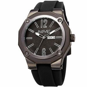 【送料無料】腕時計 シュタイナーシリコンストラップmens august steiner as8232bk raised numerals quartz silicon strap date watch