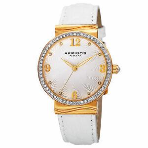 【送料無料】腕時計 スワロフスキークリスタルホワイトレザーウォッチ womens akribos xxiv ak829wtg quartz swarovski crystal white leather watch