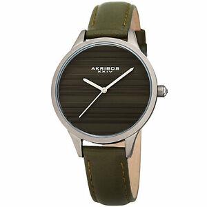 【送料無料】腕時計 シルバースリムウォッチwomenss akribos xxiv ak1005gn quartz striated silver amp; green leather slim watch