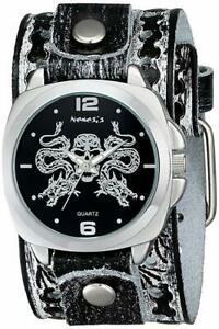 【送料無料】腕時計 ドラゴンキングブラックホワイトドラゴンレザーカフウォッチ