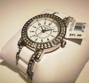 【送料無料】腕時計 ドーヴィルビアンコカサorologio donna deauville,cristalli,bianco,acciaio,cassa 33 mm,bracciale zirconi