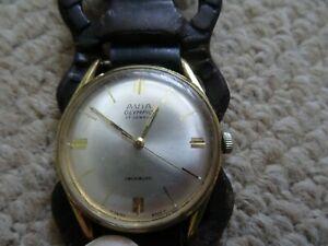 【送料無料】腕時計 ァーメンズオリンピックスイスneues angebot1960s mens avia olympic 17j gold plated wind up wrist watch working, swiss made